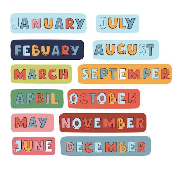 Conjunto caligráfico de citação, olá, meses do ano, escova, meses do ano, manuscrito, mão, letteri ...