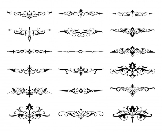 Conjunto caligráfico de elementos gráficos, monogramas e arabescos, setas.