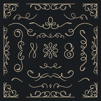 Conjunto caligráfico de ornamento de casamento