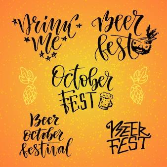 Conjunto caligráfico de outubro fest. festa da cerveja. beba-me. letras manuscritas para decoração de férias