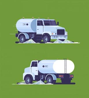 Conjunto caminhão vassoura de rua lavando asfalto com veículo industrial de água