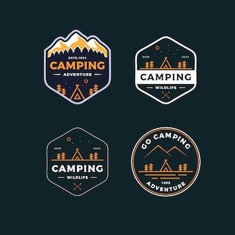 Conjunto camping distintivo logotipo design ilustração