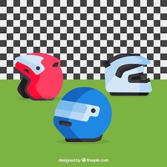 Conjunto capacete da motocicleta