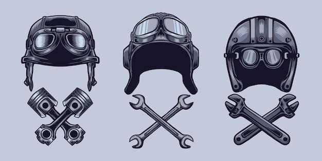 Conjunto capacete motor e ferramenta