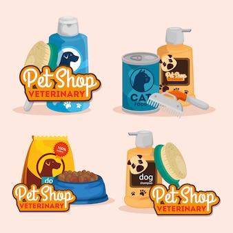 Conjunto cartaz de pet shop veterinário com ícones