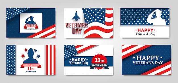 Conjunto cartaz do dia dos veteranos conjunto de banner de celebração