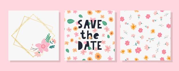 Conjunto charmoso de cartão, moldura e padrão floral para salvar a data