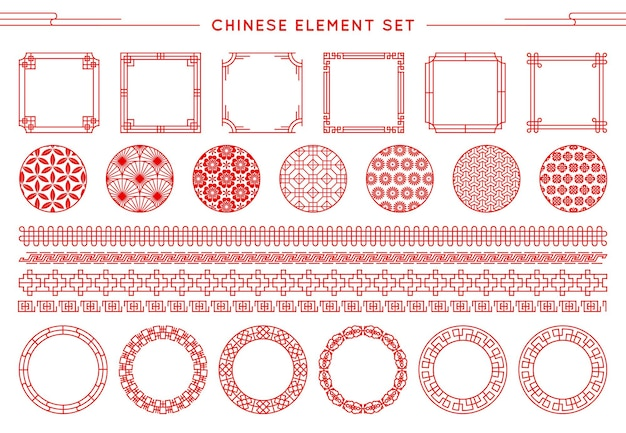 Conjunto chinês de borda, molduras, padrões, nós isolados