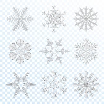 Conjunto cinza de flocos de neve