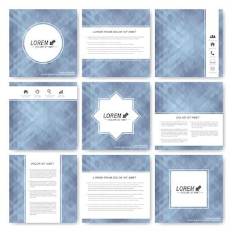 Conjunto cinza de folheto de modelo quadrado