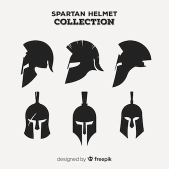 Conjunto clássico de capacete espartano com design plano
