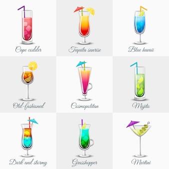 Conjunto clássico de coquetéis alcoólicos