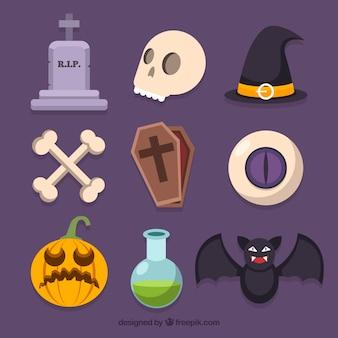 Conjunto clássico de elementos de halloween