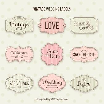 Conjunto clássico de emblemas de casamento do vintage
