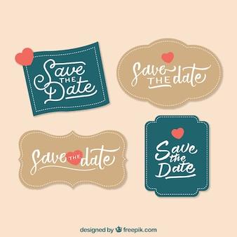 Conjunto clássico de etiquetas de casamento