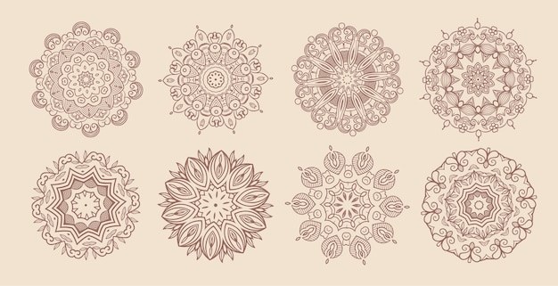 Conjunto clássico de oito mandala circular vintage