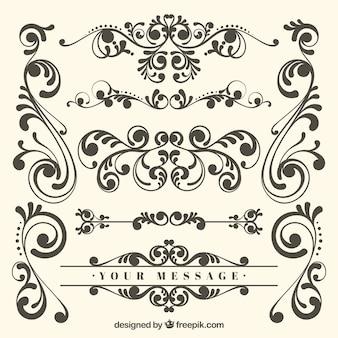 Conjunto clássico de ornamentos vintage