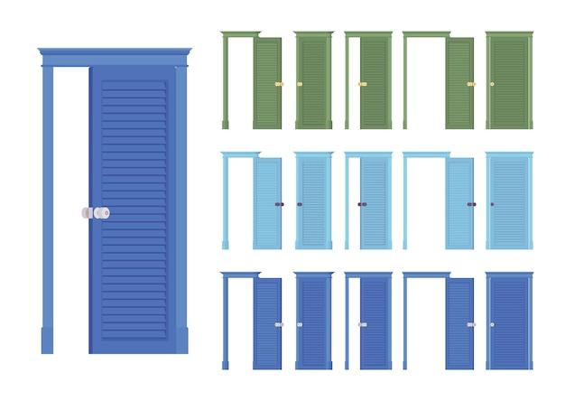 Conjunto clássico de portas niveladas, entrada de madeira para o edifício, sala