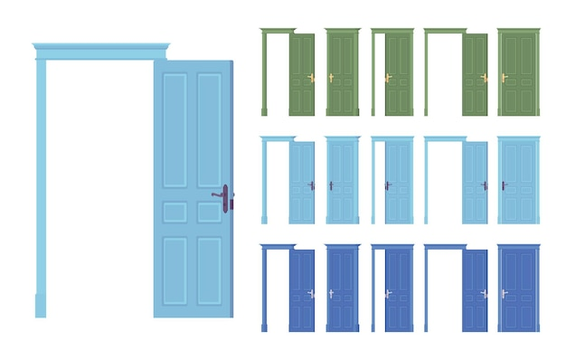 Conjunto clássico de portas niveladas, entrada frontal de madeira para o edifício, sala