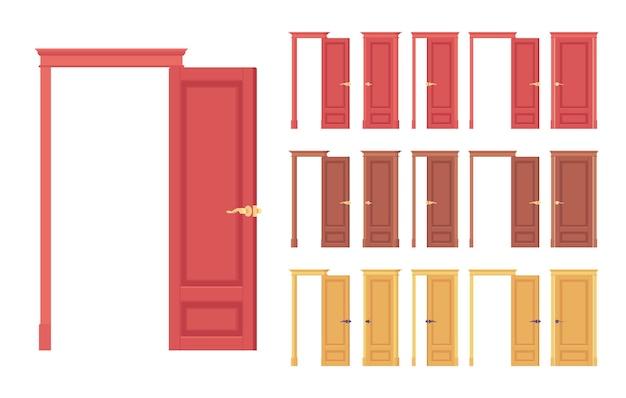 Conjunto clássico de portas niveladas, madeira com vidro, entrada para o edifício, sala