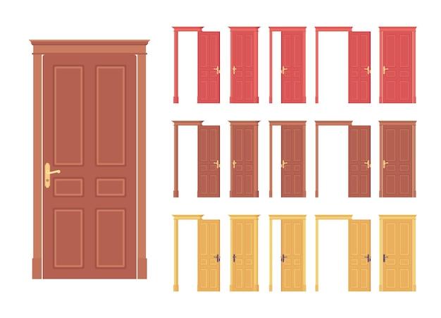 Conjunto clássico maciço de portas de madeira