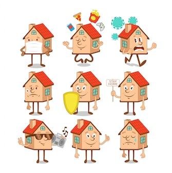 Conjunto, coleção de casas de personagens de desenhos animados sorridentes felizes fofos com emoções diferentes de emoji na pandemia de quarentena covid-19, 2019-ncov. moderno, ícone, ilustração design plano. fique em casa.