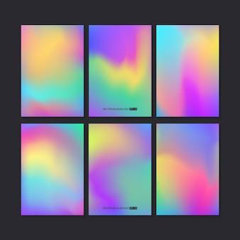 Conjunto colorido brilhante de holograma. modelo de malha.