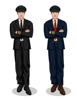 Conjunto colorido com dois pilotos sorridentes em pé com as mãos cruzadas