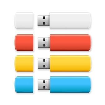 Conjunto colorido da unidade flash usb.