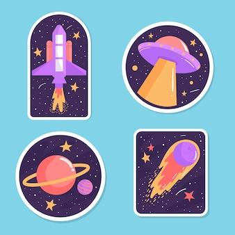 Conjunto colorido de adesivos de espaço
