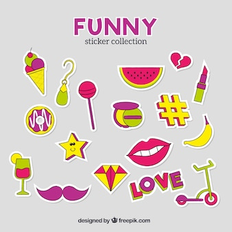 Conjunto colorido de adesivos engraçados