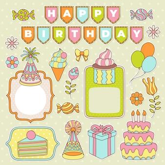 Conjunto colorido de álbum de recortes de aniversário