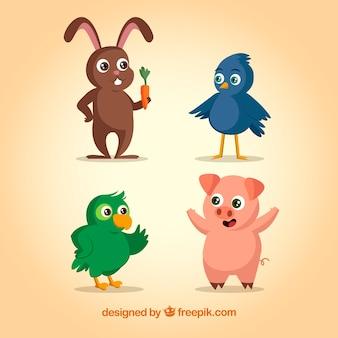 Conjunto colorido de animais felizes