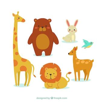 Conjunto colorido de animais planos