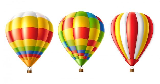 Conjunto colorido de balões de ar quente isolado
