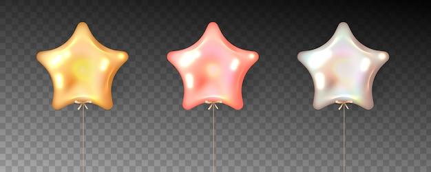 Conjunto colorido de balões em forma de estrela em fundo transparente.