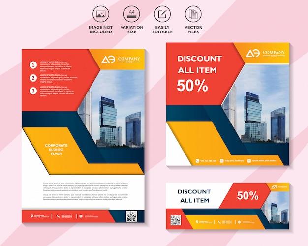 Conjunto colorido de banner de panfleto ou brochuras com oferta de desconto marketing de mídia social
