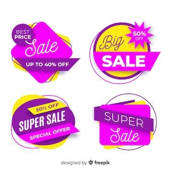 Conjunto colorido de banners de venda abstrata
