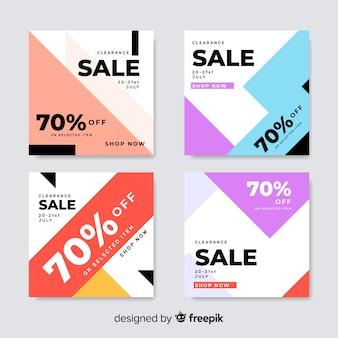 Conjunto colorido de banners de venda moderna para mídias sociais