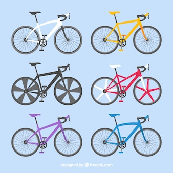 Conjunto colorido de bicicletas profissionais