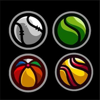 Conjunto colorido de bolas de esporte