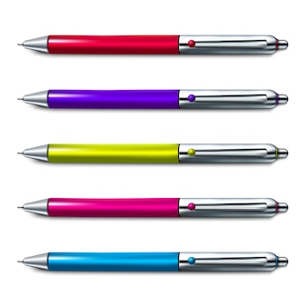 Conjunto colorido de caneta esferográfica em fundo branco.