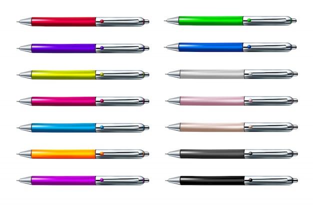 Conjunto colorido de caneta esferográfica isolado no fundo branco