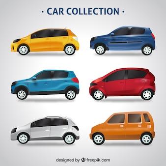 Conjunto colorido de carros realistas
