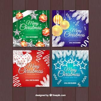 Conjunto colorido de cartões de saudação