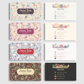 Conjunto colorido de cartões de visita com blocos de impressão elementos naturais / botânicos. fabricado à mão, florista, florista, eco, papelaria comercial verde.