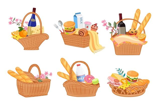 Conjunto colorido de cestas de piquenique cheias de comidas deliciosas