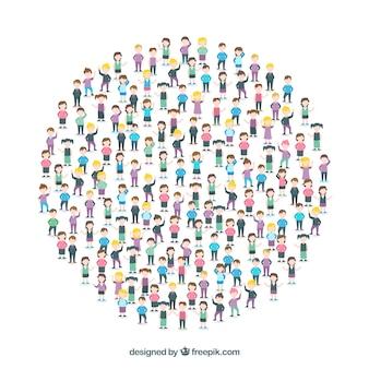 Conjunto colorido de cidadãos formando um círculo