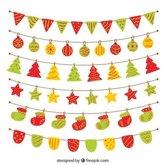 Conjunto colorido de decoração de natal