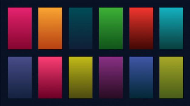 Conjunto colorido de design de gradientes